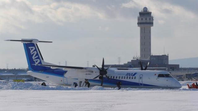 All Nippon Airways Q400 kommt von Piste ab