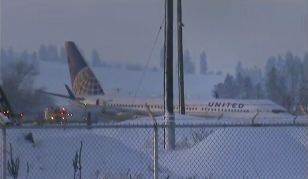 Boeing 737 Skids off the Taxyway Spokane