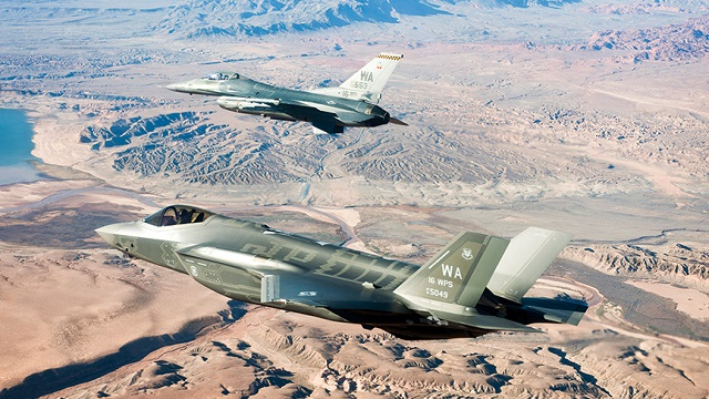 US Air Force F-35A with F-16